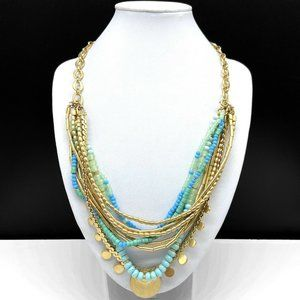 Stella & Dot Aqua Blue Turquoise Beaded Necklace
